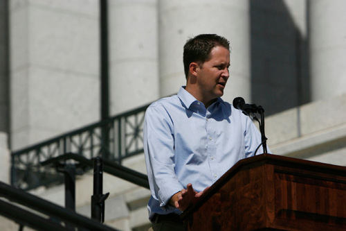FRANCISCO KJOLSETH     The Salt Lake TribuneMorgan Philpot, Republican candidate for 2nd Congressional District, appears on the steps of the Utah State Capitol on Thursday during a sparsely attended rally by the Patrick Henry Caucus.