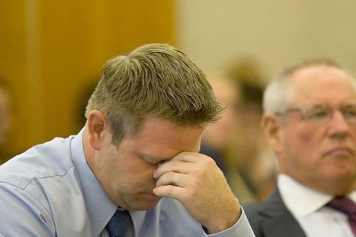 Michael Pratt reacts while listening to remarks made by the victim Monday, Sept. 20, 2010, at the Fourth District Court in American Fork.Pratt was sentenced to 5 years to life in prison.ANDREW VAN WAGENEN/ Daily Herald