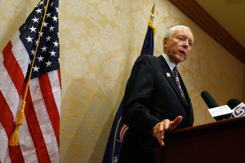 Francisco Kjolseth  |  The Salt Lake Tribune    Salt Lake City - U.S. Senator Orrin Hatch (R-Utah), a member and former Chairman of the Senate Judiciary Committee, issues his statement after Supreme Court Justice John Paul Stevens announced his retirement. Hatch, speaking before the press at the Little America Hotel on Friday, Apr. 9, 2010, expressed his hope that president Obama would not nominate an liberal, activist judge.
