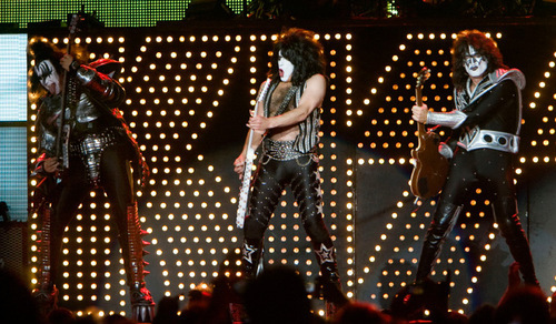 Steve Griffin  |  The Salt Lake Tribune Gene Simmons, Paul Stanley and Tommy Thayer rock out during a Kiss concert at Rio Tinto Stadium in Sandy on Wednesday, Sept. 22, 2010.