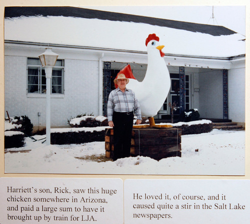 Scott Sommerdorf  l  The Salt Lake TribuneA photo from the papers of Leonard J. Arrington shows a large chicken sculpture that was brought to Salt Lake City and displayed in Arrington's yard. The diary of th famed Utah historian and former LDS Church historian, who died in 1999, is finally available to the public at the USU Library. His children, Susan Madsen and Carl Arrington, will deliver the 16th annual Leonard J. Arrington Mormon History Lecture in Logan on Sept. 23.