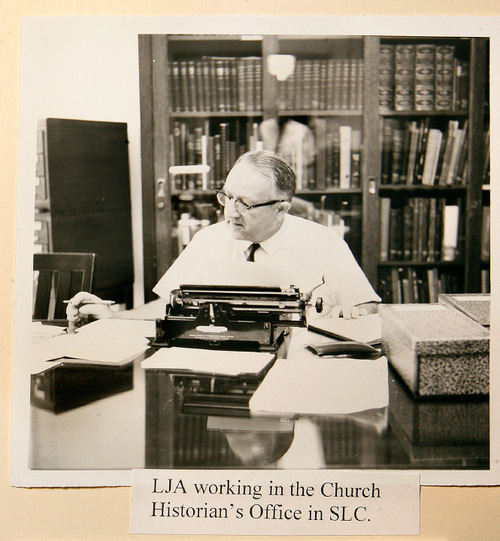 Scott Sommerdorf  l  The Salt Lake TribunePhoto from the papers of Leonard J. Arrington shows Arrington working in the Church Historian's Office in Salt Lake City. The noted historian pounded out thousads of pages for his diary on a manual typewriter.