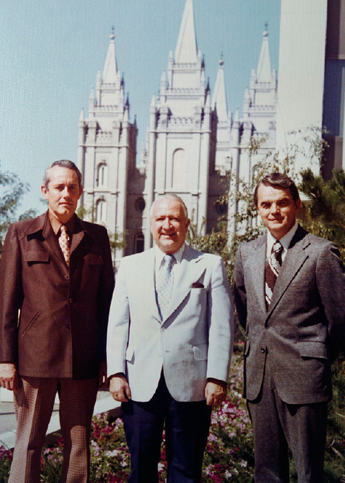 Scott Sommerdorf  l  The Salt Lake TribuneA photo from the papers of Leonard J. Arrington shows Arrington (center), with his two assistant church historians; James B Allen (left), and Davis Bitton in front of the LDS temple in Salt Lake City sometime after 1972.