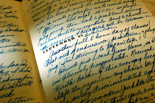 Scott Sommerdorf  l  The Salt Lake Tribune A detail from September 23, 1935, in one of Leonard J. Arrington's early diaries. The diary of Leonard Arrington, famed Utah historian and former LDS Church Historian who died in 1999, is finally available to the public in the Special Collection at USU Library.