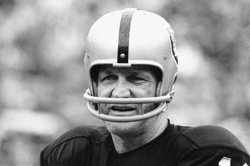 FILE- This Jan. 11, 1971 file photo shows George Blanda, sub quarterback and kicking specialist of the Oakland Raiders. The Oakland Raiders say Hall of Fame quarterback George Blanda has died, Monday, Sept. 23, 2010. He was 83. (AP Photo)