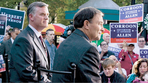 Paul Fraughton  |  The Salt Lake Tribune    Mayor Peter Corroon and Gov. Gary Herbert  at a debate on Main Street in front of the KUTV studios on  Thursday,September 30, 2010