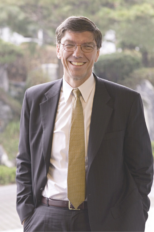 Clayton Christensen serves as the LDS Church's Area Authority Seventy in the Boston area.