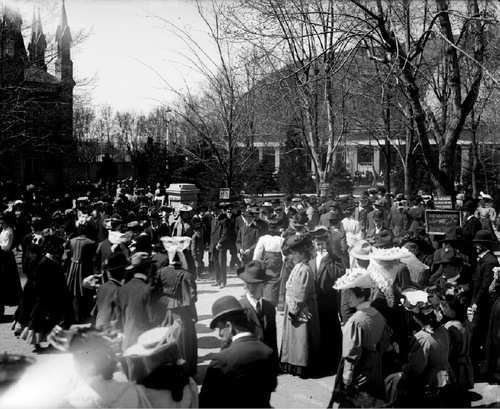 A crowd attends the 1906 LDS Conference at the Salt Lake LDS Temple.