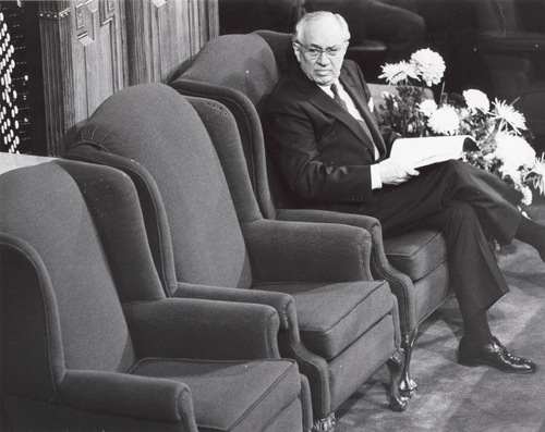 LDS Church President Gordon B. Hinckley photographed in April 1984. (Salt Lake Tribune file photo)