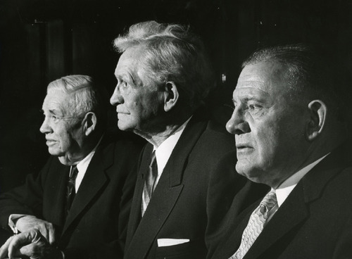 David D, Mckay, J. Rueben, Henry D. Moyle. Historic Image. Salt Lake Tribune Library