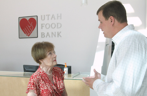 Rick Egan      The Salt Lake Tribune Joan Haskins, 83, talks last week to Jim Pugh, executive director of the Utah Food Bank, about the possibility of donating cloth diapers to those in need. She and a friend plan to look into fabrics and cloth diaper options. Haskins hopes more diaper drives occur to encourage Utahns to contribute cloth diapers.