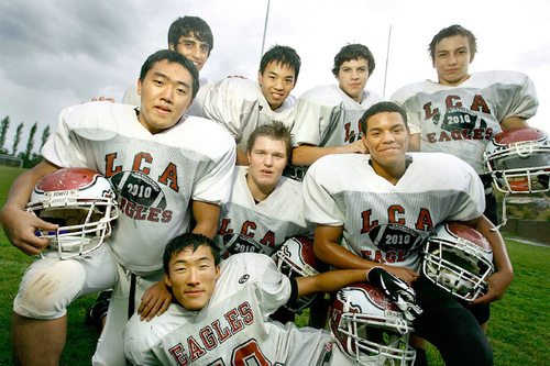 Scott Sommerdorf  l  The Salt Lake Tribune Layton Christian Academy's football team has 10 players from foreign countries, including the following eight: Left to right; back row: Juan Albuja (Equador), Shun Ishimaru (Japan), Nicolas Dorr (Germany) and Henri Jussila (Finland). Left to right, middle row: Shaun Lee (S. Korea), Akseli Kaasalainen (Finland) and Juan Vigueras (Spain). Front: Kun Lun Yang (China).