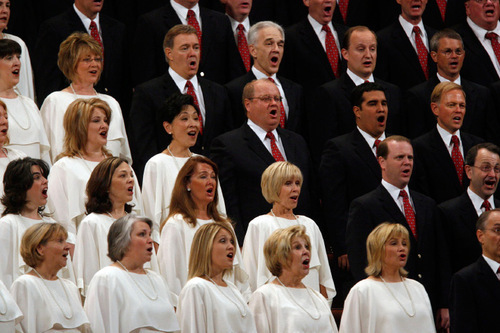 Francisco Kjolseth  |  The Salt Lake TribuneThe Mormon Tabernacle Choir sings during the first session of General Conference at the Conference Center in Salt Lake on Saturday, Oct. 2, 2010.Salt Lake City Oct. 2, 2010.