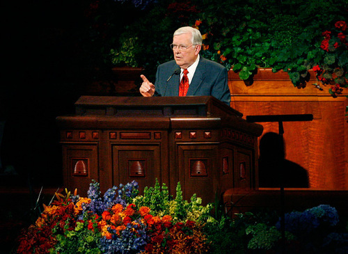 Scott Sommerdorf  l  The Salt Lake Tribune  M. Russell Ballard cautions against temptations from aspects of daily life during the afternoon session of LDS General Conference on Sunday.