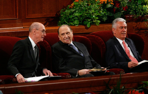 Francisco Kjolseth  |  The Salt Lake TribuneThe first presidency of the Church of Jesus Christ of Latter Day Saints, Henry B. Eyring, President Thomas S. Monson and Dieter F. Uchtdorf, from left, settle in for the first session of the 180th Semiannual General Conference on Saturday, Oct. 2, 2010.Salt Lake City Oct. 2, 2010.