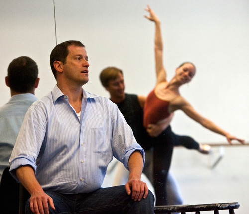 Chris Detrick  |  The Salt Lake Tribune Ballet West Artistic Director Adam Sklute works with dancers Katherine Lawrence and Christopher Sellars during a rehearsal of the ballet