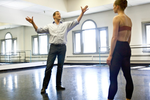 Chris Detrick  |  The Salt Lake Tribune Ballet West Artistic Director Adam Sklute works with dancer Katherine Lawrence during a rehearsal of the ballet