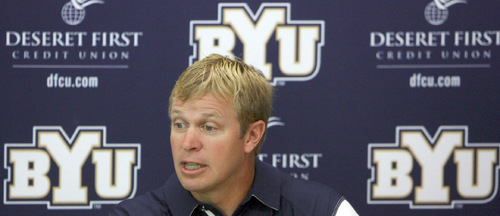 Steve Griffin  |  The Salt Lake TribuneBYU head football coach Bronco Mendenhall talks to the media during his weekly press conference at the Student-Athlete Building on the BYU campus in Provo on Monday, Oct. 4, 2010.