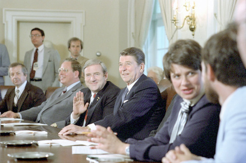 Early in his term as president, Ronald Reagan seemed to put the evangelical's social agenda into action proposing constitutional amendments to ban abortion and reinstate prayer in public schools.(Credit: Courtesy of Reagan Presidential Library)