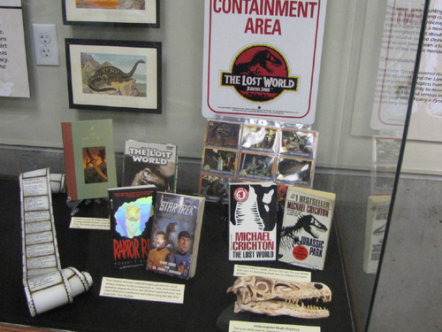 Mark Havnes  |  The Salt Lake TribuneBooks, toys and posters are some of the items on display at a dinosaur exhibit in St. George that looks at how dinosaurs have been viewed in history including popular culture.