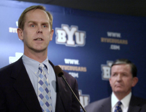BYU President Cecil O. Samuelson (right) announced the school's new athletic director, Tom Holmoe, at a Tuesday afternoon press conference at LaVell Edwards Stadium.