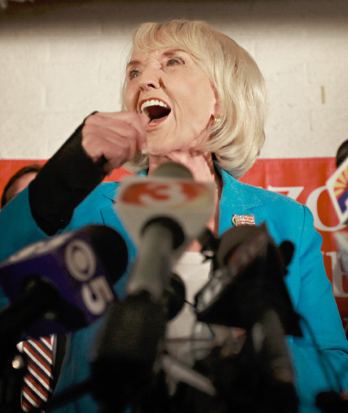 Arizona Gov. Jan Brewer speaks after winning the Republican gubernatorial nomination in the Arizona primary Tuesday, Aug. 24, 2010, at Arizona Republican headquarters in Phoenix. Gov. Brewer is facing democratic challengers Terry Goddard in the November election. (AP Photo/Matt York, File)
