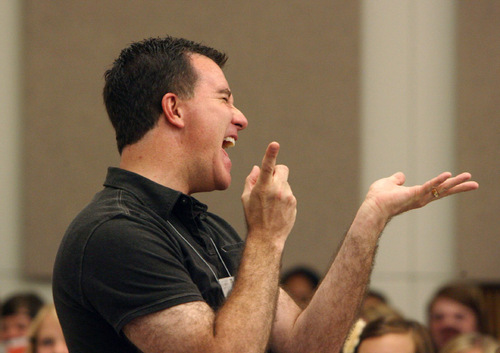 Steve Griffin     The Salt Lake Tribune  Brady Allred hits a high note during his high school student choral summer camp during a mass rehearsal at Gardener Hall on the campus of the University of Utah in Salt Lake City on Thursday, August 12, 2010.