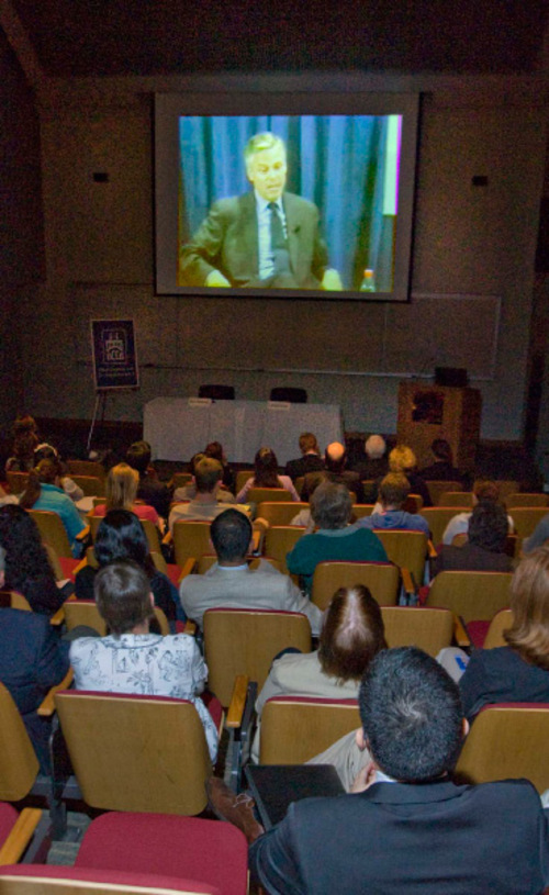 Paul Fraughton     The Salt Lake Tribune    People filled two-thirds of an auditorium Monday evening at Westminster College to hear former Utah governor and current U.S. Ambassador to China, Jon Huntsman, Jr. in a nationwide webcast about relations between the United States and China.