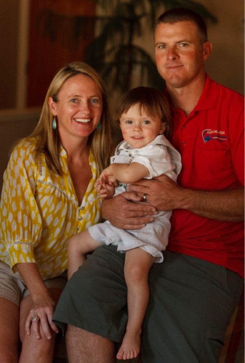 Leah Hogsten  |  The Salt Lake Tribune Sandra Bartell, shown in Moab Tuesday, Oct. 12, with her son Ansel and husband Lou Bartell, recently applied for health coverage for her family. Everyone is healthy, so they didn't expect any problems, especially since under federal health reform, insurers can no longer reject kids, but BlueCross BlueShield rejected her son.