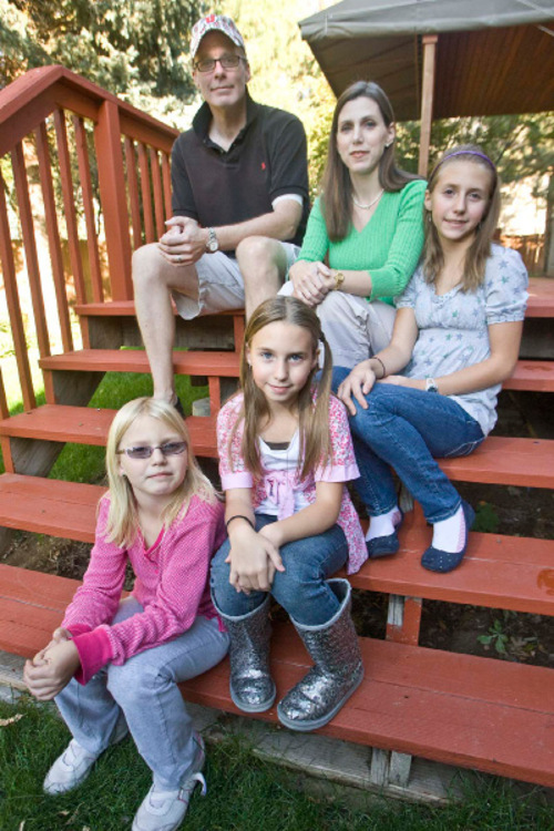 Paul Fraughton  |  The Salt Lake Tribune  Todd and Nancy Pfortmillerwith their three children (from top) Emma (11) Madeline (9) and Heidi (7) . The Pfortmillers are having trouble finding health insurance for their family because  of chronic health problems.  Thursday,October 14, 2010