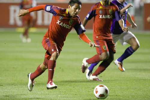Chris Detrick  |  The Salt Lake Tribune Real Salt Lake forward Paulo Araujo Junior #23 scores a goal during the first half of the game at Rio Tinto Stadium Tuesday October 19, 2010.  Real Salt Lake is winning the game 1-0.
