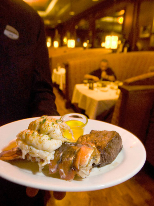 Paul Fraughton  |  The Salt Lake Tribune      A lobster tail and steak at Spencer's in the Hilton Hotel in Salt Lake City.