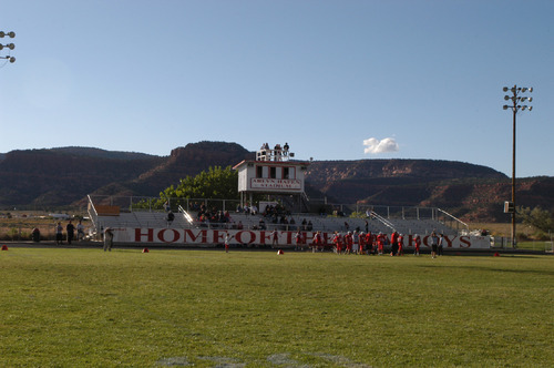 Tom Wharton | The Salt Lake TribuneKanab's Arlyn Hafen Stadium is surrounded by beautiful red cliffs,making it one of Utah's five most scenic places to watch a highschool football game.