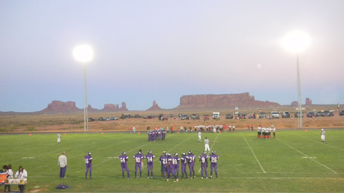 Tom Wharton | The Salt Lake Tribune Monument Valley's football field, located just north of the Arizona border, is perhaps Utah's most scenic place to watch a football game.