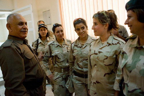 Matthew D. LaPlante  |  The Salt Lake Tribune  Minister of Peshmerga Jafar Mustafa Ali speaks to a group of female military members at a training base in northern Iraq.