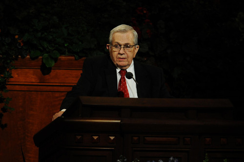 President Boyd K. Packer speaks at the Sunday morning session of the 180th Semiannual General Conference. Courtesy: The Church of Jesus Christ of Latter-Day Saints