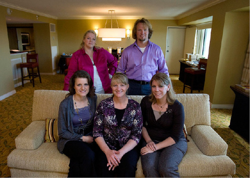 Djamila Grossman  |  The Salt Lake Tribune  Left to right: Kody Brown and his four wives, Janelle Brown, top, Robyn  Brown, Christine Brown and Meri Brown, pose for a portrait at the Downtown Mariott in Salt Lake City, on Friday, Sept. 24, 2010.  The family are the main focus of a TLC reality show, which will start airing Sunday, Sept. 26.
