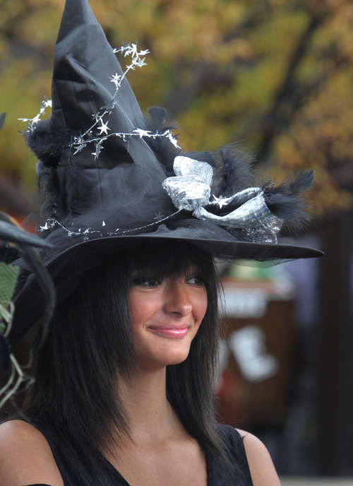 Rick Egan   |  The Salt Lake Tribune Bre Campbell15, Ogden, dresses as a witch for the Witchstock festival on Historic 25th Street in Ogden, Saturday, Oct. 23, 2010.