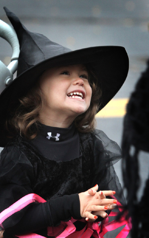 Rick Egan   |  The Salt Lake Tribune  Three-year-old Katelyn Oki, dresses as a witch at the Witchstock festival on Historic 25th Street in Ogden, Saturday, Oct. 23, 2010.