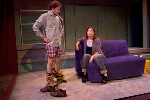 Chris Detrick for In This WeekDavid Fetzer as Jules and Emily Burnworth as Jo in Salt Lake Acting Company's 'boom.'