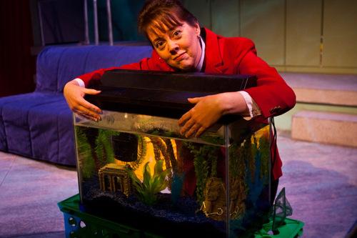 Chris Detrick |  The Salt Lake Tribune Holly Fowers as Barbara in 'boom' at the Salt Lake Acting Company.