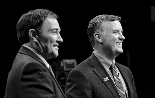 Francisco Kjolseth  |  The Salt Lake TribuneGovernor Gary Herbert, left, and gubernatorial candidate Peter Corroon get ready for their debate at the Eccles Broadcast Center on the University of Utah campus on Thursday, Sept. 23, 2010 before a live studio audience.