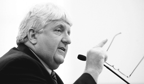 Salt Lake City -  U.S. Rep. Rob Bishop talks to the Natural Resources, Agriculture, and Environment Interim Committee at the state Capitol on Wednesday about the damage that would be done to Utah if the Climate Change bill in Congress goes through.  Photo by Francisco Kjolseth/The Salt Lake Tribune 8/19/2009