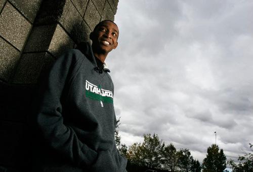 Francisco Kjolseth     The Salt Lake Tribune Feature on Jazz rookie Jeremy Evans. Salt Lake City, Oct. 25, 2010.