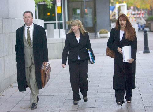 Al Hartmann  |  The Salt Lake Tribune Some of Brian David Mitchell's defense team, including Parker Douglas, left, Wendy Lewis, center, and Audrey James, walk to the Frank E. Moss Federal Courthouse for the start of jury selection on Monday, Nov. 1, 2010. Mitchell is accused of kidnapping Elizabeth Smart.