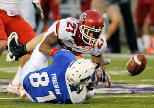 Utah's Lamar Chapman strips the ball from Air Force tight end Joshua Freeman (81) in the first quarter of a NCAA college football game, Saturday, Oct. 30, 2010, at Falcon Stadium in Colorado Springs, Colo. Utah recovered the ball. (AP Photo/Chris Schneider)