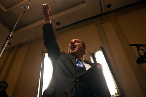 CHRIS DETRICK   Tribune File Photo Sen.-elect Mike Lee celebrates his Election Night victory at the Salt Lake Hilton. New reports show he spent $1.5 million on the campaign.