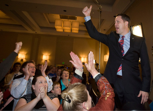 Steve Griffin     The Salt Lake TribuneU.S. congressional candidate Morgan Philpot is cheered on by supporters during an interview  during the Utah GOP election night celebrations at the Hilton Hotel in Salt Lake City Tuesday, November 2, 2010.