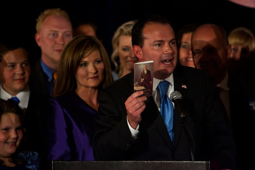 Chris Detrick     The Salt Lake Tribune Surrounded by family, friends and supporters, Republican Mike Lee speaks at the Salt Lake Hilton Hotel Tuesday November 2, 2010.  Conservative Republican Mike Lee coasted to an easy win Tuesday over Democrat Sam Granato in Utah's Senate race -- shifting Utah's representation in Congress even further to the right, and completing a big victory for the tea party nationally.