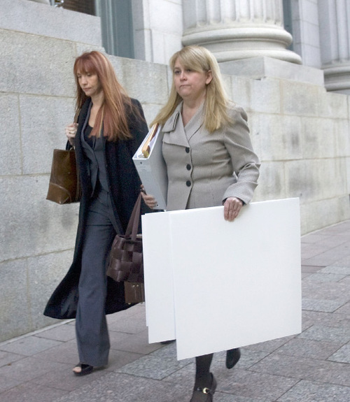 Al Hartmann  |  The Salt Lake TribuneAudrey James, left,  and Wendy Lewis, part of Brian David Mitchell's defense team, enter Frank Moss  Federal Court in Salt Lake City on Thursday, Nov. 4, for the first day of trial.